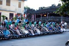 Rząd pedicab przy hoi fotografia stock