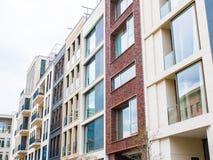 Rząd różnorodni budynków mieszkaniowych okno Zdjęcia Royalty Free