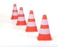 Rząd rożki, pilony ruch drogowy/ Zdjęcie Stock
