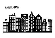 Rząd stary typowy Amsterdam mieści wektorowe sylwetki Obrazy Royalty Free