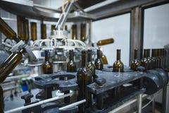 Rząd szklany wino butelek obracać do góry nogami Zdjęcie Royalty Free