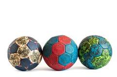 Rząd Trzy Handball piłki fotografia stock