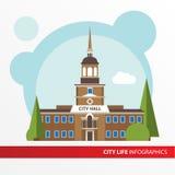 Rządowa budynek ikona w płaskim stylu columned budynku sali Hungary miasta Pojęcie dla miasta infographic Zdjęcie Royalty Free