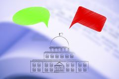 Rządowy budynek z zielonym i czerwonym komicznym bąbla representin obrazy royalty free