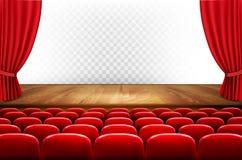 Rzędy czerwoni kina lub teatru siedzenia przed przejrzystym plecy ilustracji