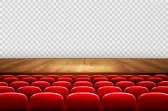 Rzędy czerwoni kina lub teatru siedzenia w przodzie ilustracji