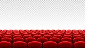 Rzędy czerwoni kinowi kin siedzenia ilustracja wektor