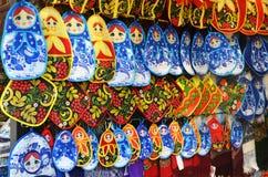 Rzędy potholders z rosyjskimi symbolami Fotografia Stock