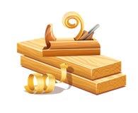 Rzępolić drewniane deski strugarki narzędziem i segregowanie trocinami Fotografia Royalty Free