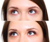 Rzęsy rozszerzenie Porównanie kobieta ono przygląda się before and after Zdjęcia Royalty Free