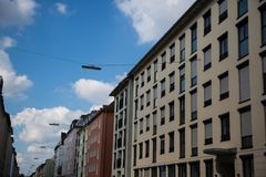 Rząd domy, tenement domy, stary budynek w Monachium, Schwabing Zdjęcia Royalty Free