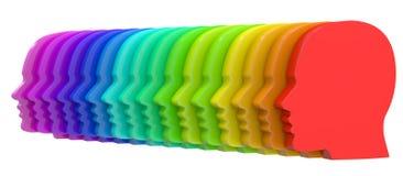 Rząd kolorowi ludzcy profile Obrazy Stock
