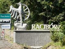 """RZ de RACIBÃ """", SILESIA, Polônia-entrada nos limites administrativos da cidade de Raciborz, distrito de Brzezie fotografia de stock royalty free"""