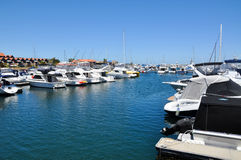 Rzędy luksusowi jachty przy marina dokiem Obraz Royalty Free