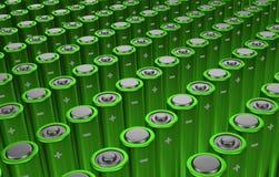Rzędy zielone baterie Fotografia Stock
