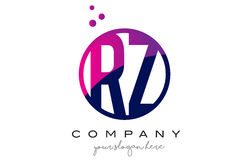 RZ R Z Circle Letter Logo Design with Purple Dots Bubbles Royalty Free Stock Image