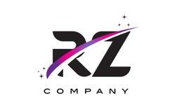 RZ R Z Czarnego listu loga projekt z Purpurowym Magenta Swoosh Obraz Royalty Free