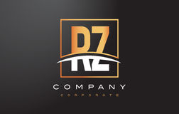 RZ R Z Golden Letter Logo Design with Gold Square and Swoosh. Stock Photo