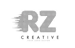 RZ R Z Letter Logo with Black Dots and Trails. Royalty Free Stock Image