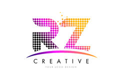 RZ R Z Letter Logo Design with Magenta Dots and Swoosh Stock Photos