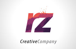 RZ R Z Letter Logo Design with Purple Forest Texture Flat Vector Royalty Free Stock Photography