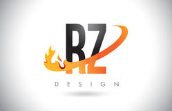RZ R Z Letter Logo with Fire Flames Design and Orange Swoosh. RZ R Z Letter Logo Design with Fire Flames and Orange Swoosh Vector Illustration Royalty Free Stock Photo