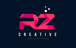 RZ R Z Letter Logo with Purple Low Poly Pink Triangles Concept Royalty Free Stock Images