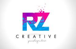 RZ R Z listu logo z Zniweczoną Łamającą błękit menchii teksturą Desig Zdjęcie Royalty Free