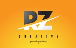 RZ R Z loga Listowy Nowożytny projekt z Żółtym tłem i Swoo Obrazy Royalty Free