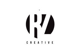 RZ R Z White Letter Logo Design with Circle Background. Stock Photography
