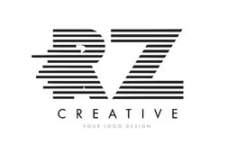 RZ R Z Zebra Letter Logo Design with Black and White Stripes Royalty Free Stock Photo