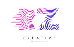 RZ R Z Zebra Lines Letter Logo Design with Magenta Colors Royalty Free Stock Image