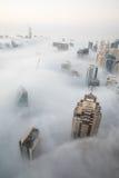Rzadka zima ranku mgła w Dubaj, UAE - 05/DEC/2016 Zdjęcie Royalty Free
