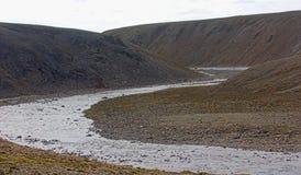 Rzadki krajobraz zimna Arktyczna pustynia Novaya Zemlya archipelag Jądrowy testowanie pasmo 1 Zdjęcia Stock