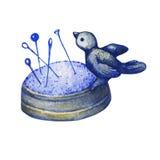 Rzadki rocznik obsady żelaza pincushion ptak na gniazdeczku ilustracja wektor