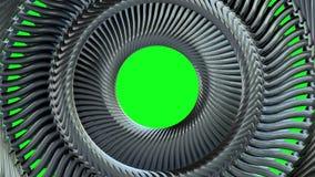Rzadkopłynny poruszający płodozmienny złoty metalu łańcuchu oko okrąża bezszwowe pętli animaci 3d ruchu grafika na zielonym tle n royalty ilustracja