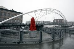 Rzeźba «Krajowy aksamit «John McEnroe pod Górskim mostem obraz royalty free