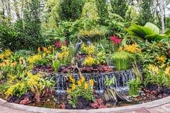 Rzeźba żurawie w Krajowym orchidea ogródzie, lokalizować withi obrazy stock