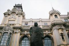 Rzeźba blisko przesyła w Barcelona Obrazy Stock