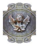 Rzeźba drewniany anioł przeciw staremu klasycznemu tynkowi Zdjęcie Stock