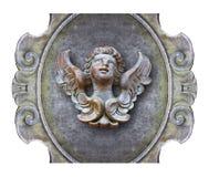 Rzeźba drewniany anioł przeciw staremu klasycznemu tynkowi fra Zdjęcie Royalty Free