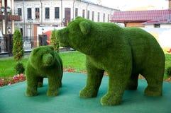 Rzeźba dwa niedźwiedzia zdjęcia royalty free