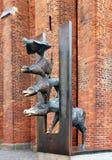 Rzeźba Grodzcy muzycy Bremen w Ryskim fotografia royalty free