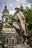Rzeźba i kościół Catania Sicily zdjęcia royalty free