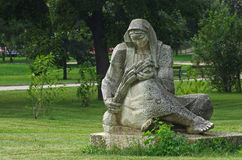 Rzeźba kobieta z snopem banatka Zdjęcia Stock