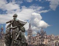 Rzeźba na, katedra Święta trójca lub - Drezdeńska, Sachsen, Niemcy Fotografia Royalty Free