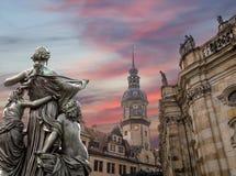 Rzeźba na, katedra Święta trójca lub - Drezdeńska, Sachsen, Niemcy Zdjęcia Royalty Free