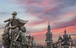 Rzeźba na, katedra Święta trójca lub - Drezdeńska, Sachsen, Niemcy Zdjęcie Royalty Free