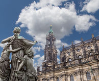 Rzeźba na, katedra Święta trójca lub - Drezdeńska, Sachsen, Niemcy Fotografia Stock
