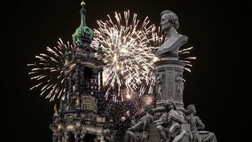 Rzeźba na, katedra lub Święta trójca i wakacyjni fajerwerki - barokowy kościół w Drezdeńskim zdjęcie wideo